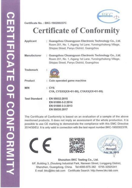 China Guangzhou Chuangyuan Electronical Technology Co., Ltd. Certificações